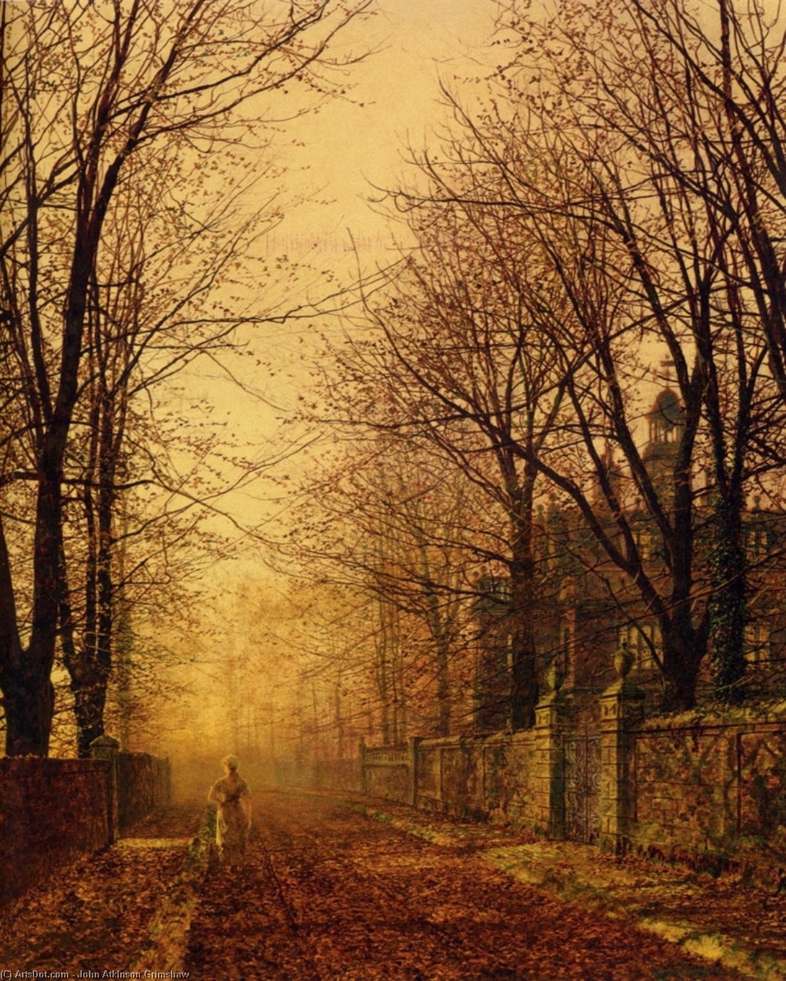 一个金色的光束 通过 John Atkinson Grimshaw (1836-1893, United Kingdom)