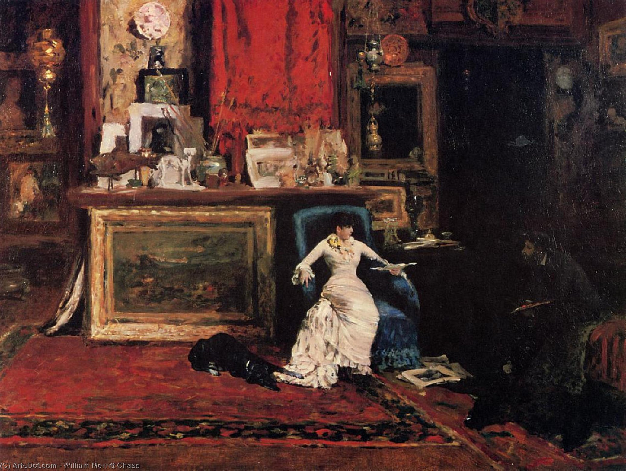 内部 Artist's 工作室又名 第十 街道, 油 通过 William Merritt Chase (1849-1916, United States)