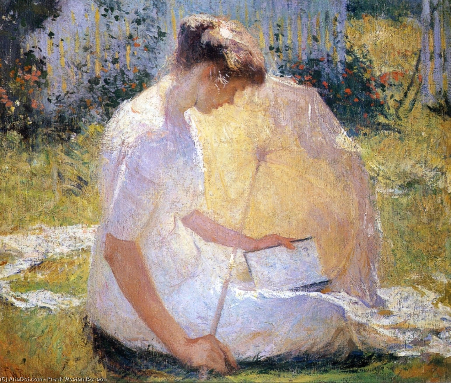 读取器, 油 通过 Frank Weston Benson (1862-1951, United States)