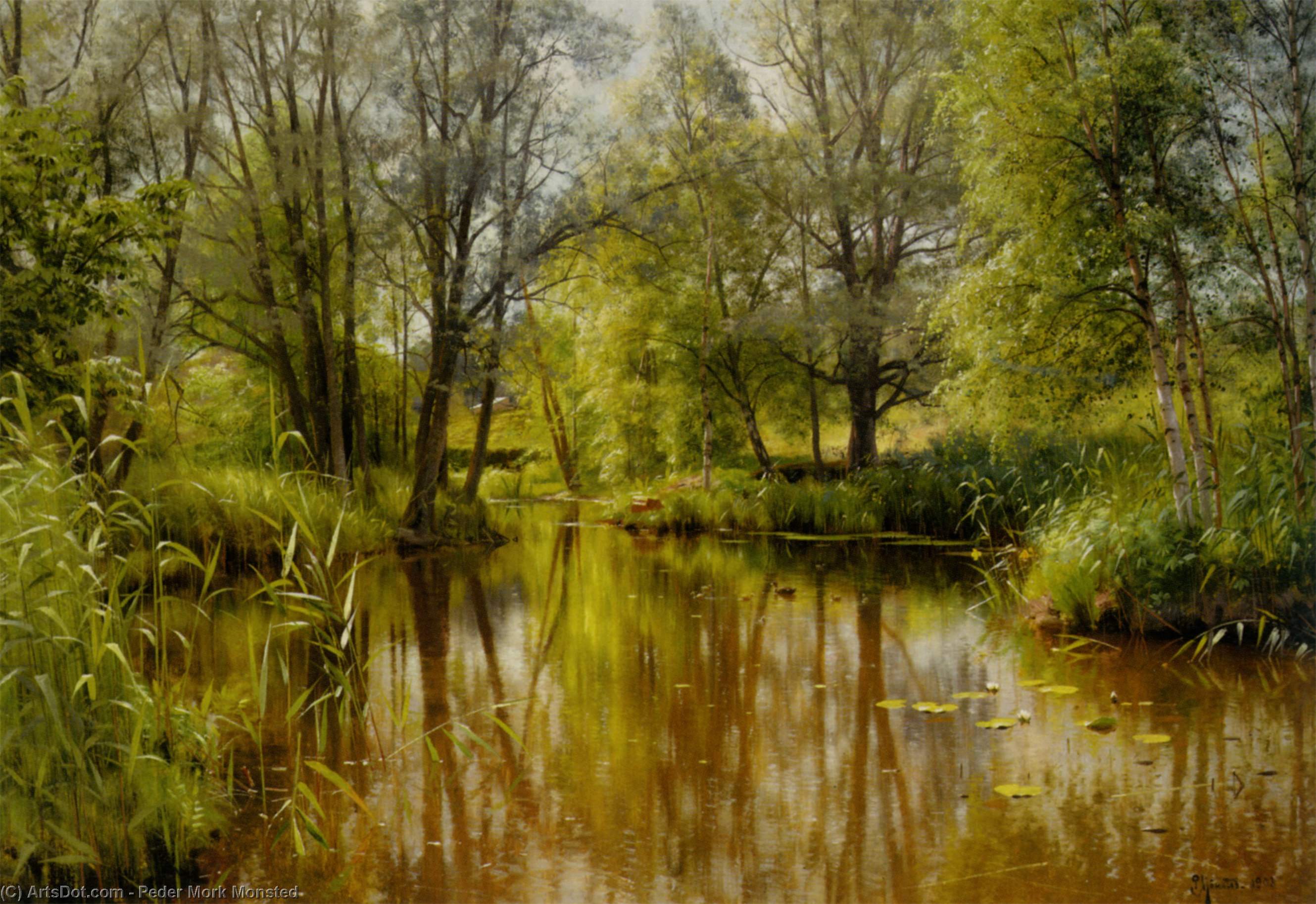 Alandskab 一世 Solskin酒店 恩 Forarsdag, 油 通过 Peder Mork Monsted (1859-1941, Denmark)