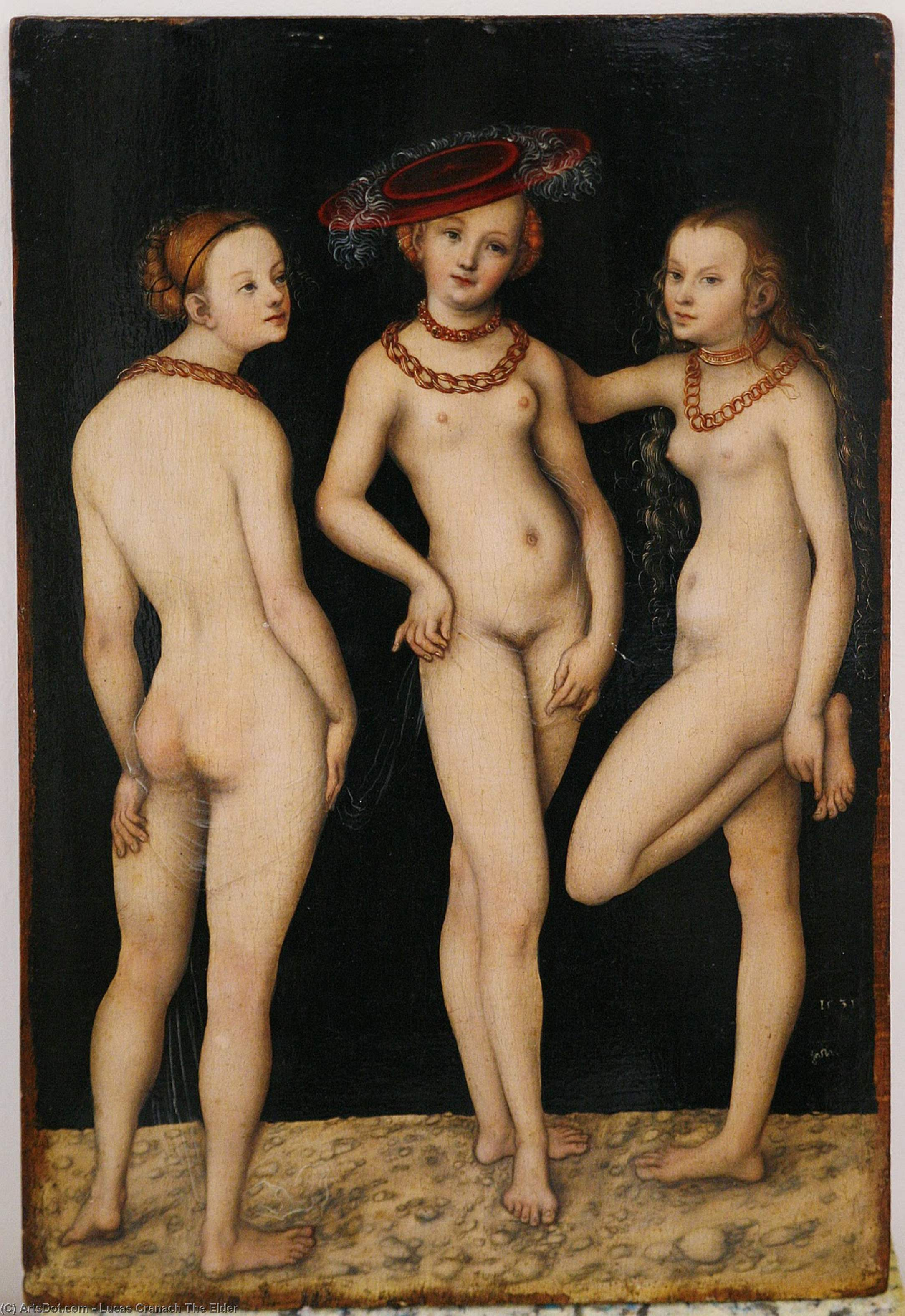 美惠三女神, 1531 通过 Lucas Cranach The Elder (1472-1553, Germany)