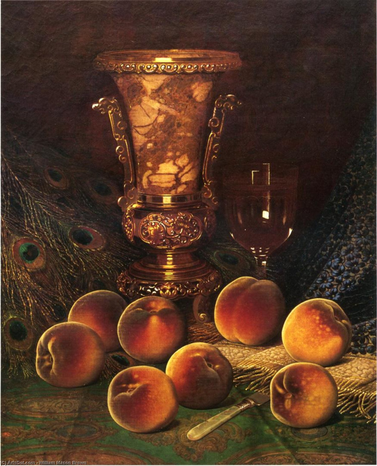 仍然的生活 与  桃子  和  大理石  花瓶 , 1882 通过 William Mason Brown (1828-1898, United States) | 傑作拷貝 | ArtsDot.com