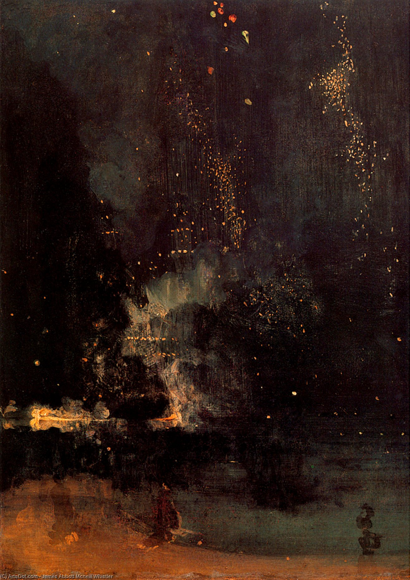 顺序 傑作拷貝 : 夜曲 在  黑色  和  金  的  在下降  火箭  通过 James Abbott Mcneill Whistler (1834-1903, United States) | ArtsDot.com