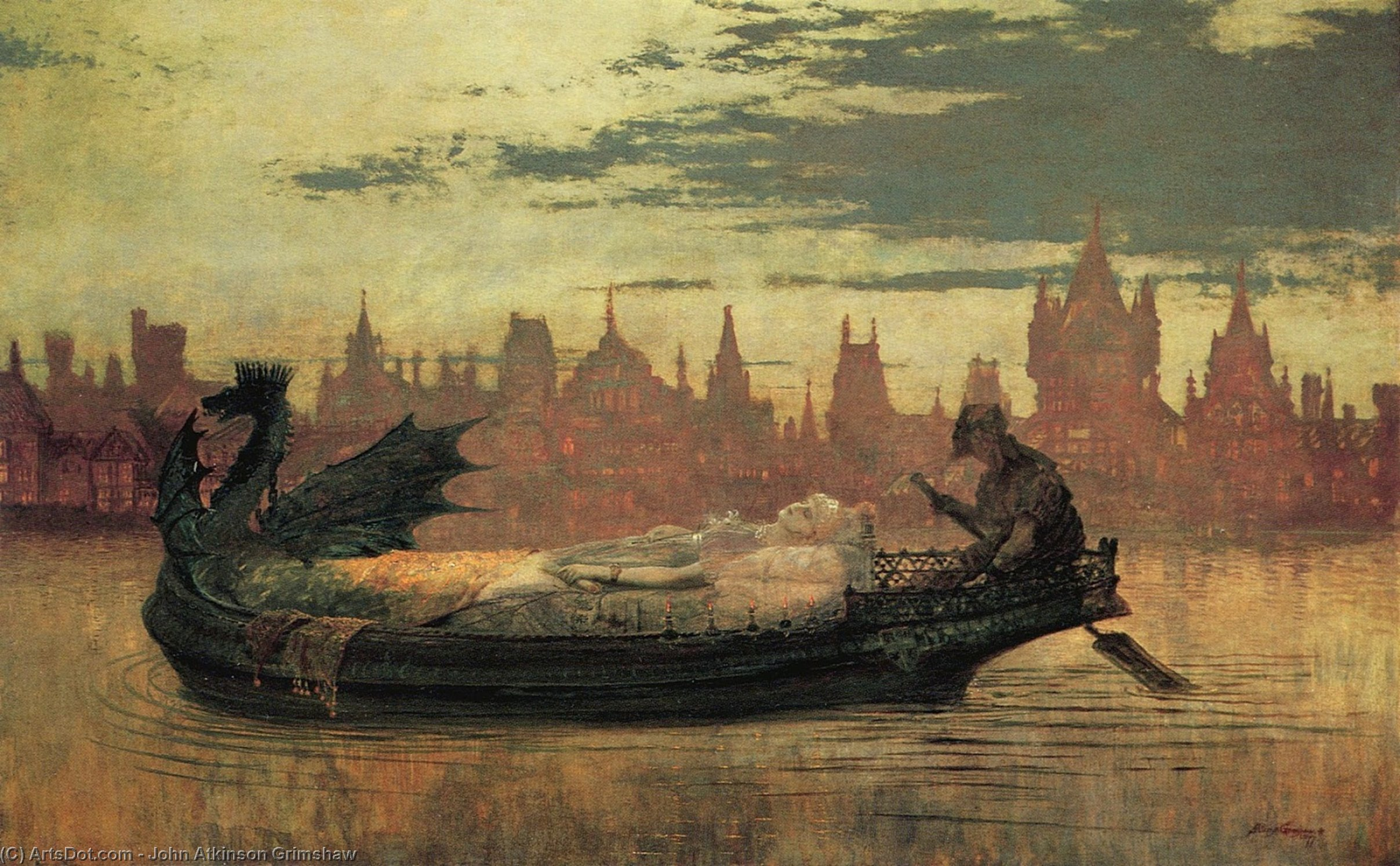 Elaine1 AMK 通过 John Atkinson Grimshaw (1836-1893, United Kingdom)