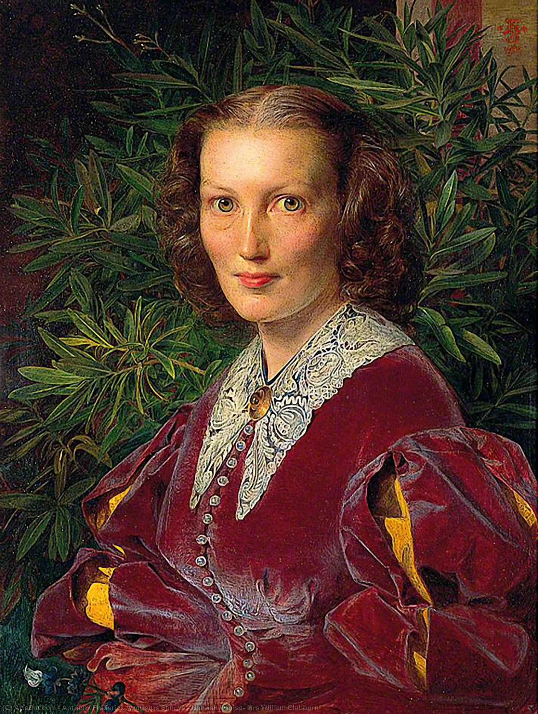 汉娜 路易莎 , 太太 威廉 Clabburn, 1860 通过 Anthony Frederick Augustus Sandys (1829-1904, United Kingdom) | 傑作拷貝 | ArtsDot.com
