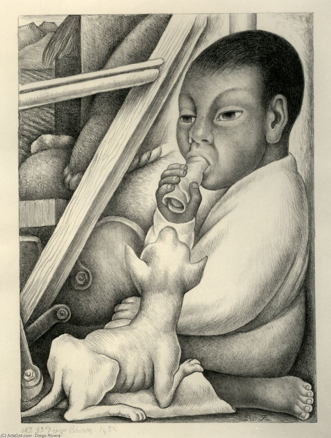 男孩 和  狗 , 油 通过 Diego Rivera (1886-1957, Mexico)