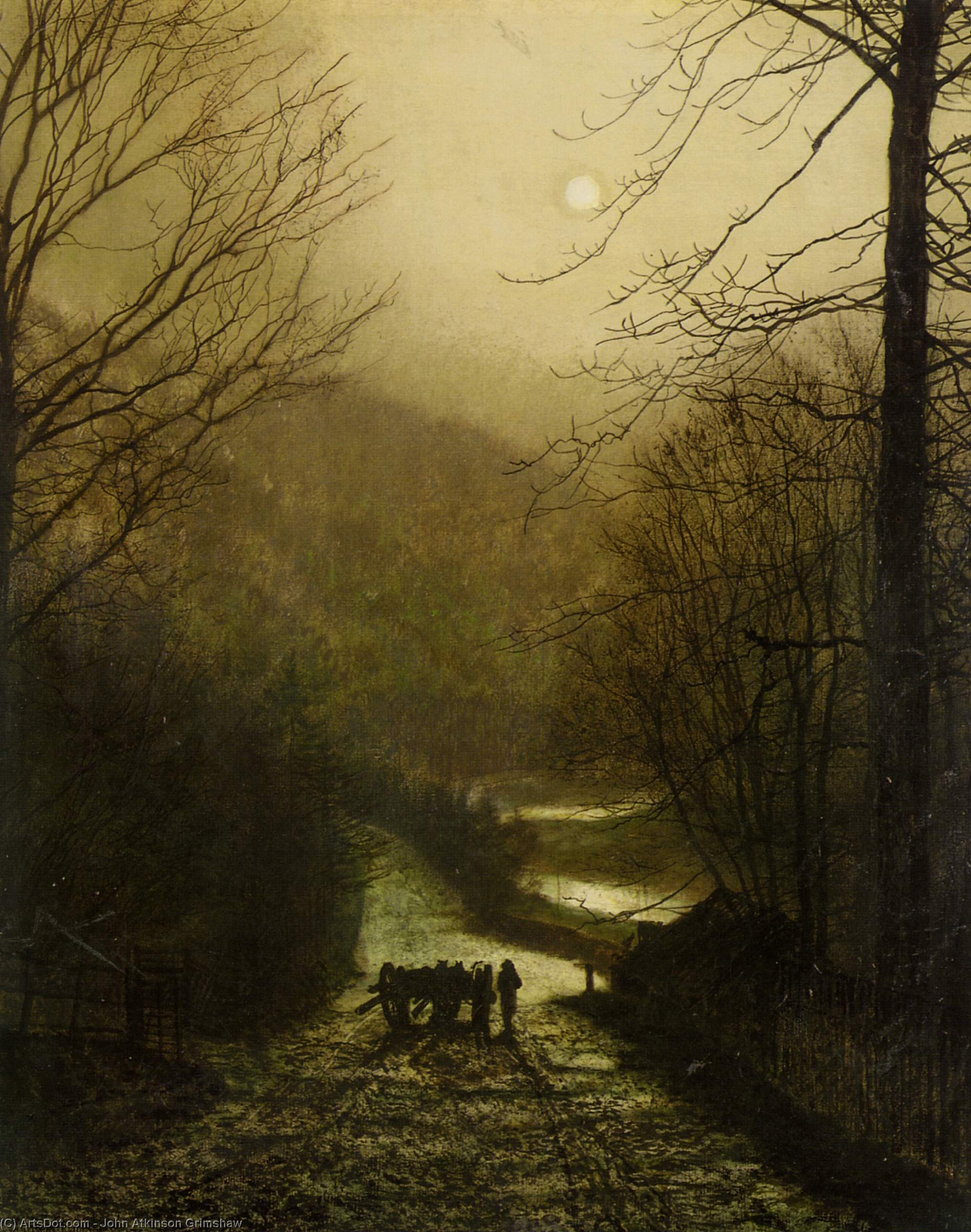 锐意谷士嘉堡附近, 油 通过 John Atkinson Grimshaw (1836-1893, United Kingdom)