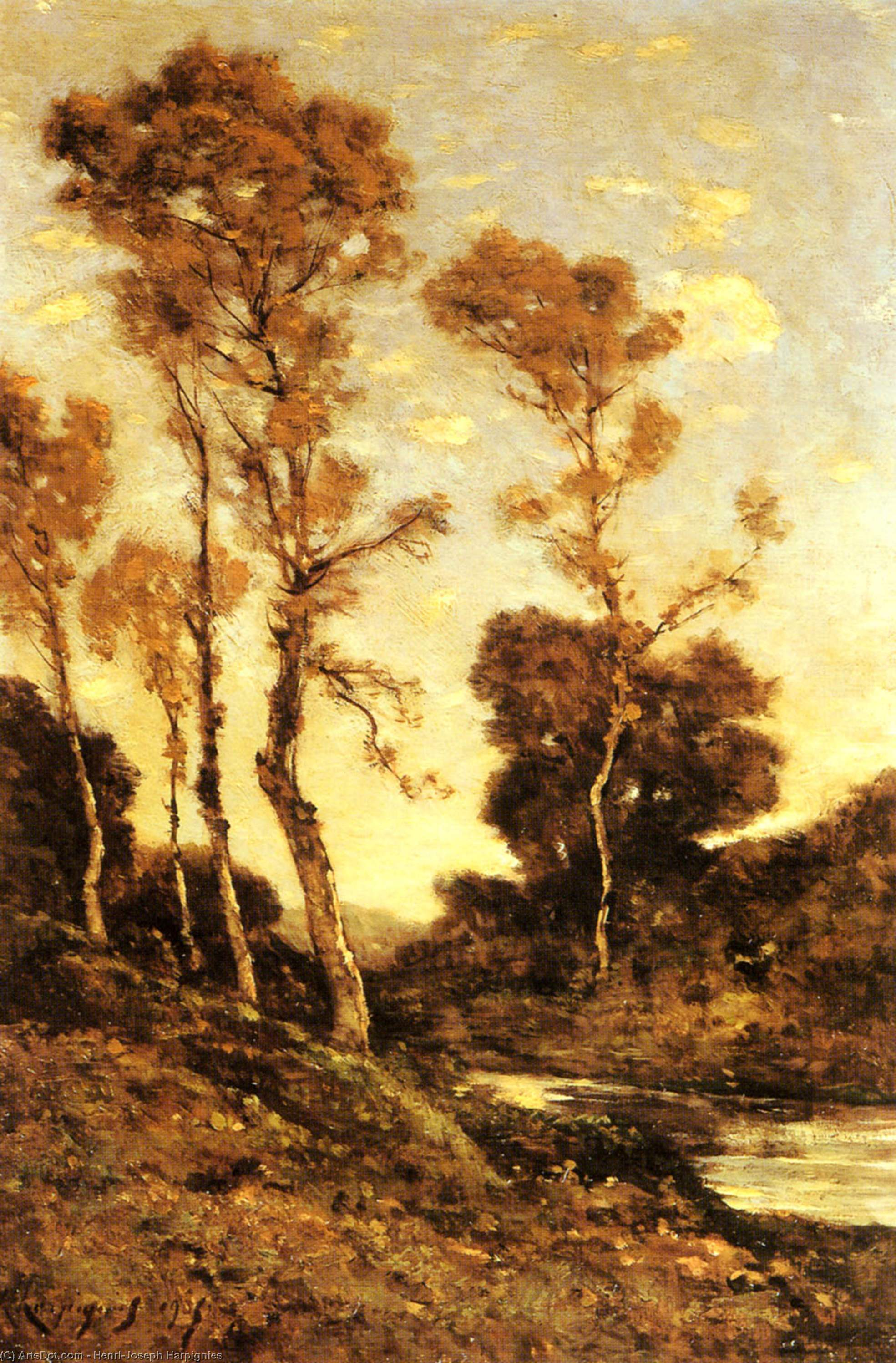 秋季景观河 通过 Henri-Joseph Harpignies (1819-1916, France)