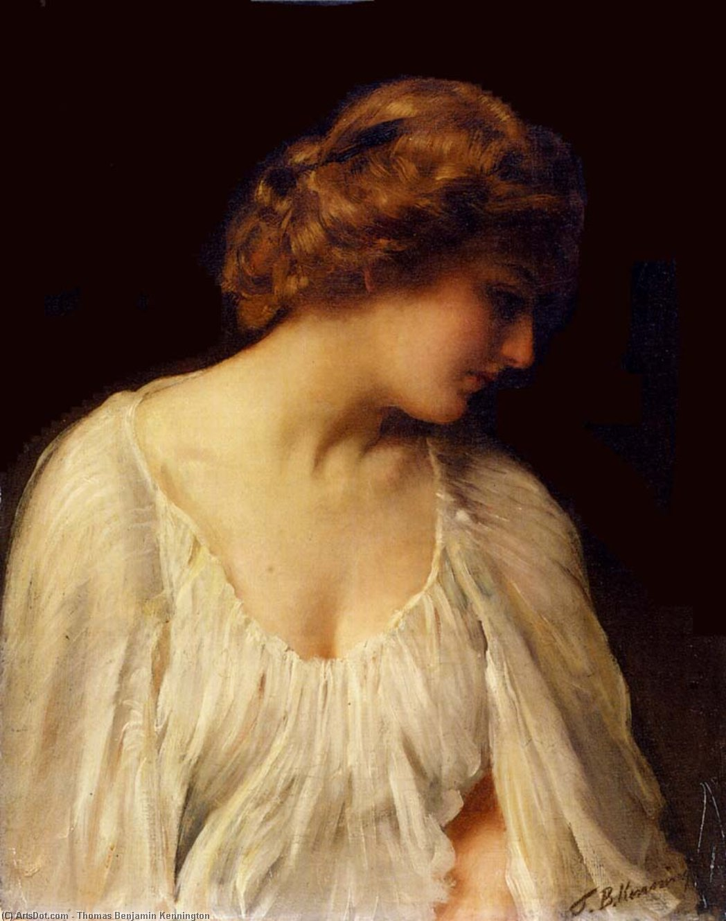沉思 通过 Thomas Benjamin Kennington (1856-1916, United Kingdom)