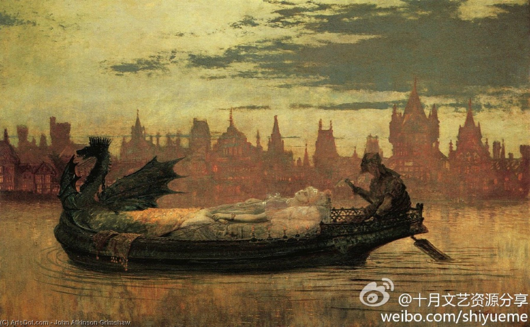 伊莱恩, 油画 通过 John Atkinson Grimshaw (1836-1893, United Kingdom)