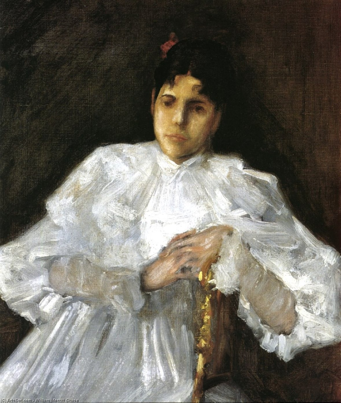 女孩 在  白, 油画 通过 William Merritt Chase (1849-1916, United States)