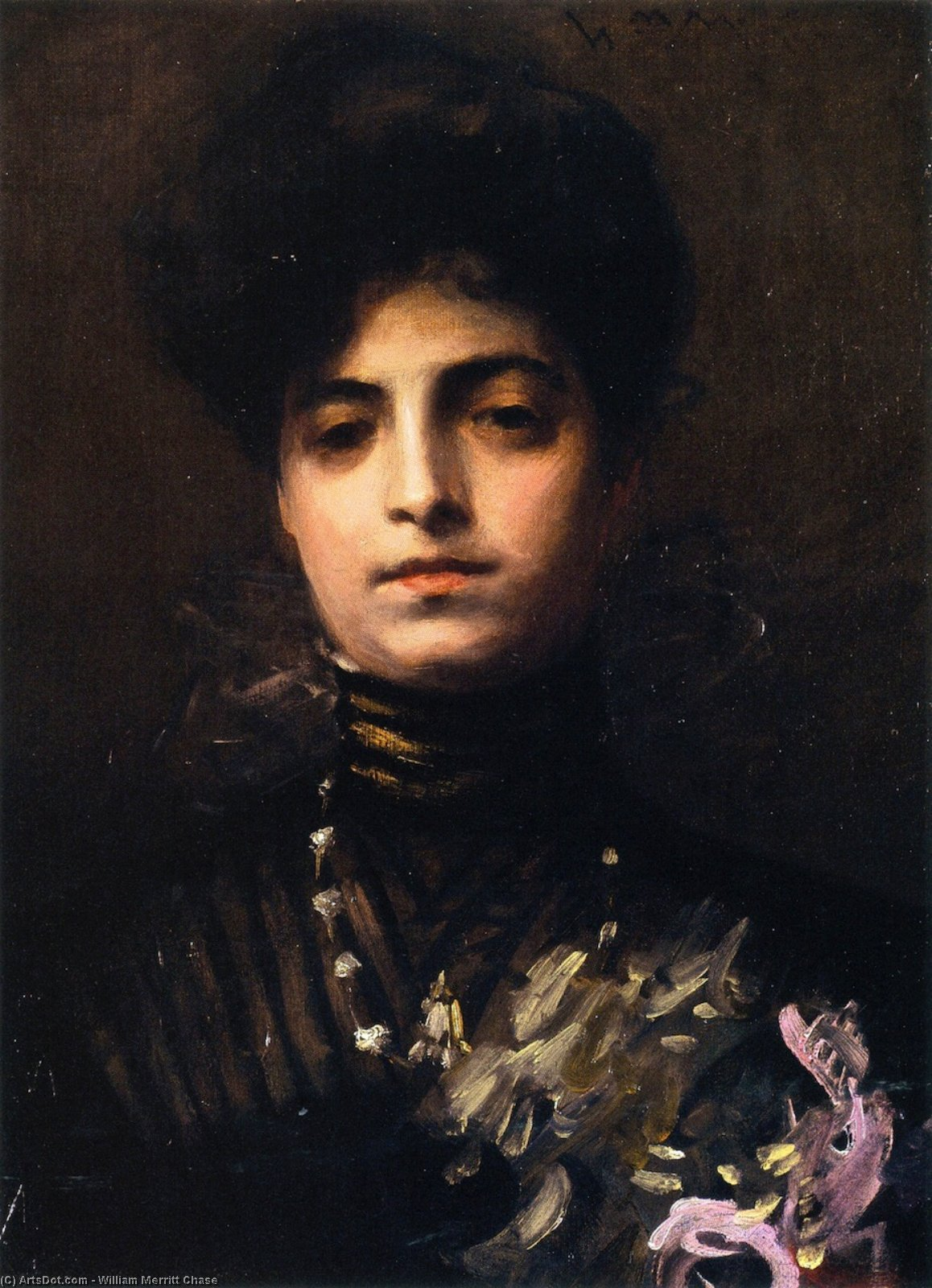 夫人与兰花, 1903 通过 William Merritt Chase (1849-1916, United States) | ArtsDot.com