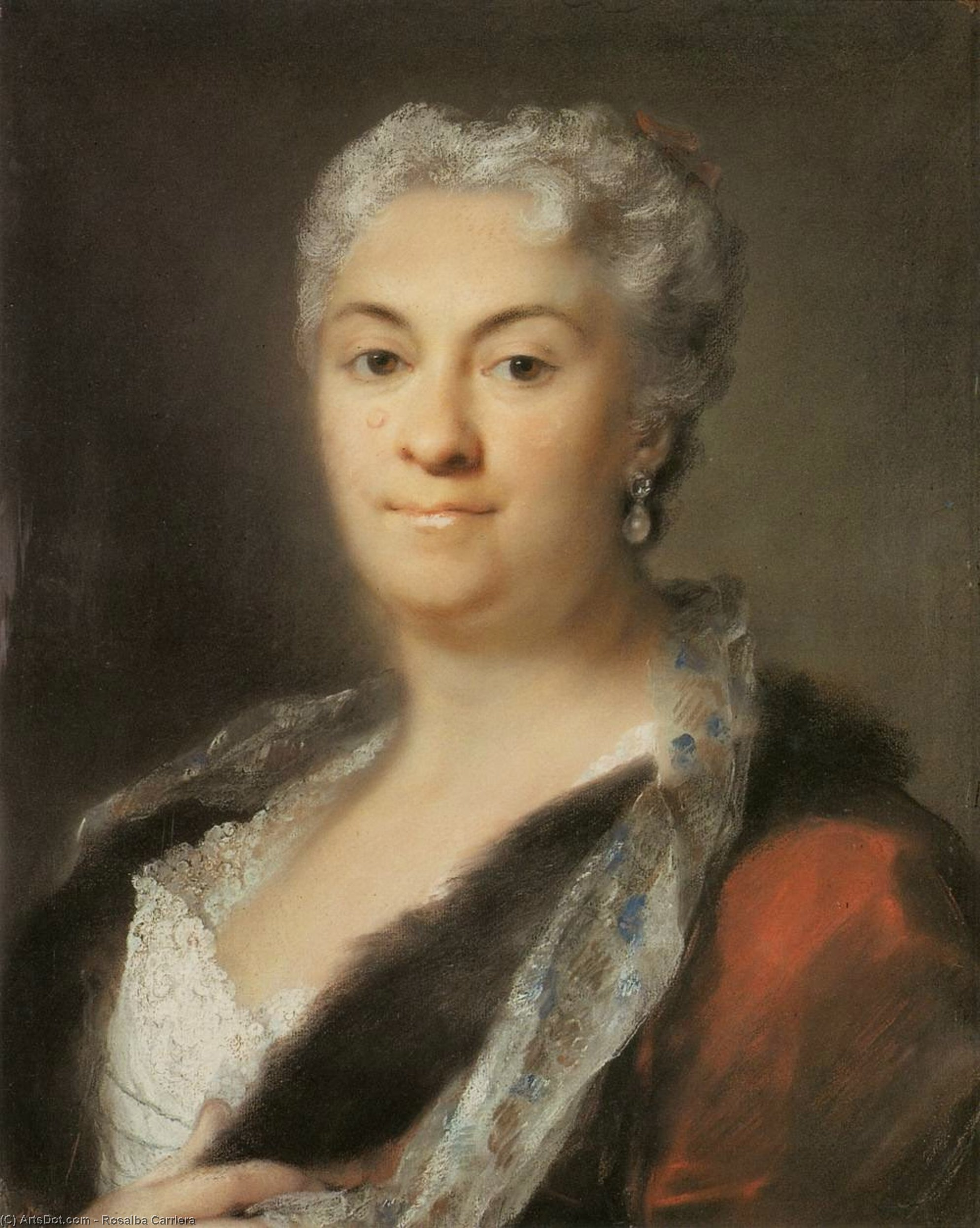 老年 女士 , 柔和 通过 Rosalba Carriera (1675-1757, Italy)