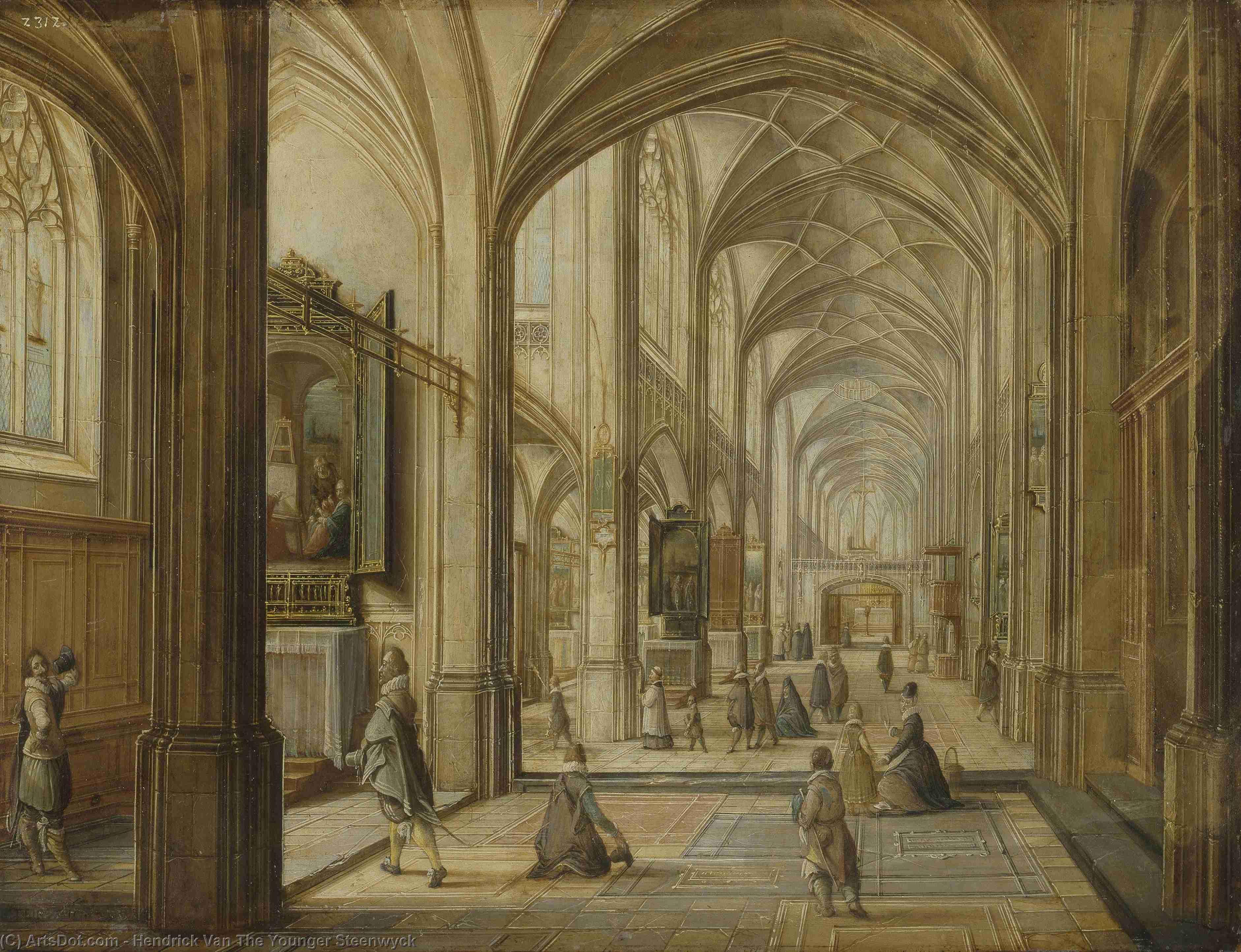 的内部 哥特式 教会 , 铜布油画 通过 hendrick van the younger图片