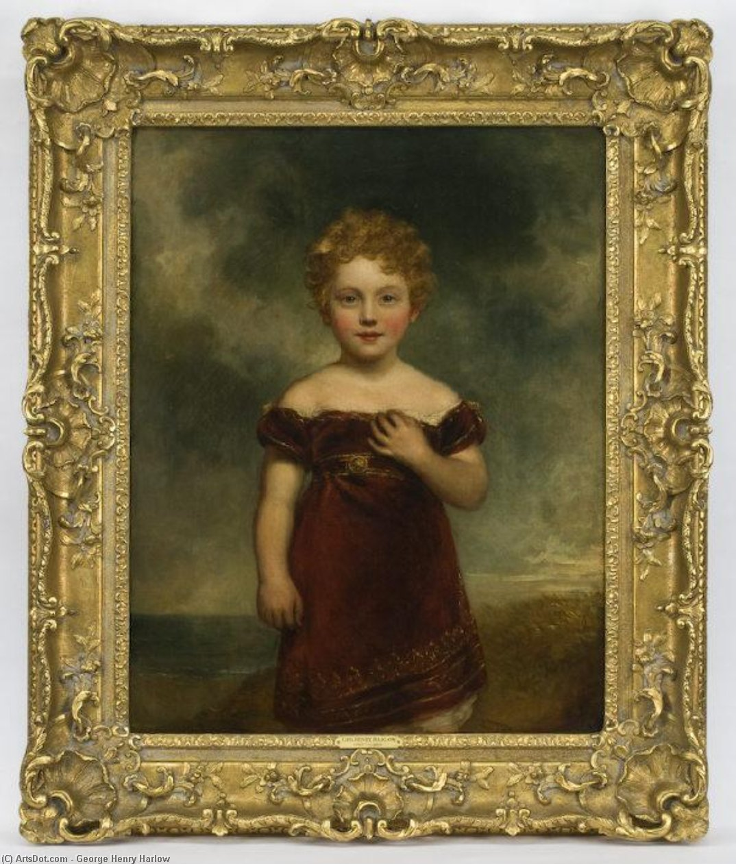 顺序 傑作拷貝 :  肖像  年轻的女孩 通过 George Henry Harlow (1787-1819, United Kingdom) | ArtsDot.com
