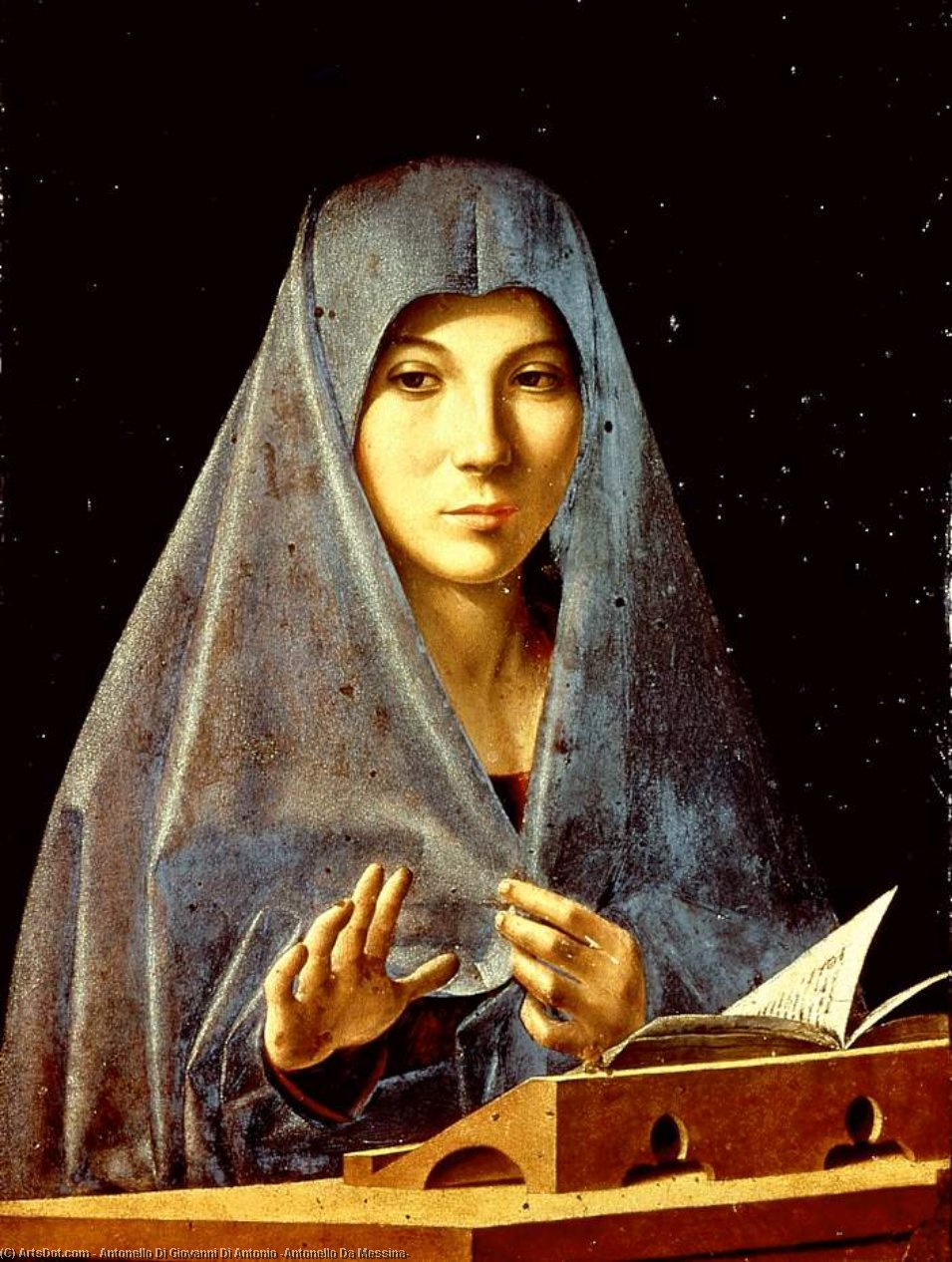 处女 告示  通过 Antonello Di Giovanni Di Antonio (Antonello Da Messina) (1430-1479, Italy)