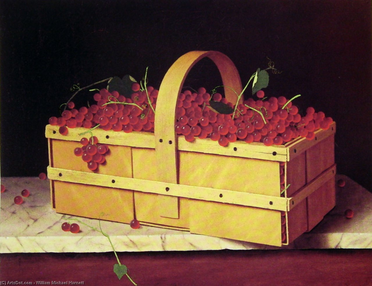 一个 木 篮子 Catawba-Grapes 通过 William Michael Harnett (1848-1892, Ireland)