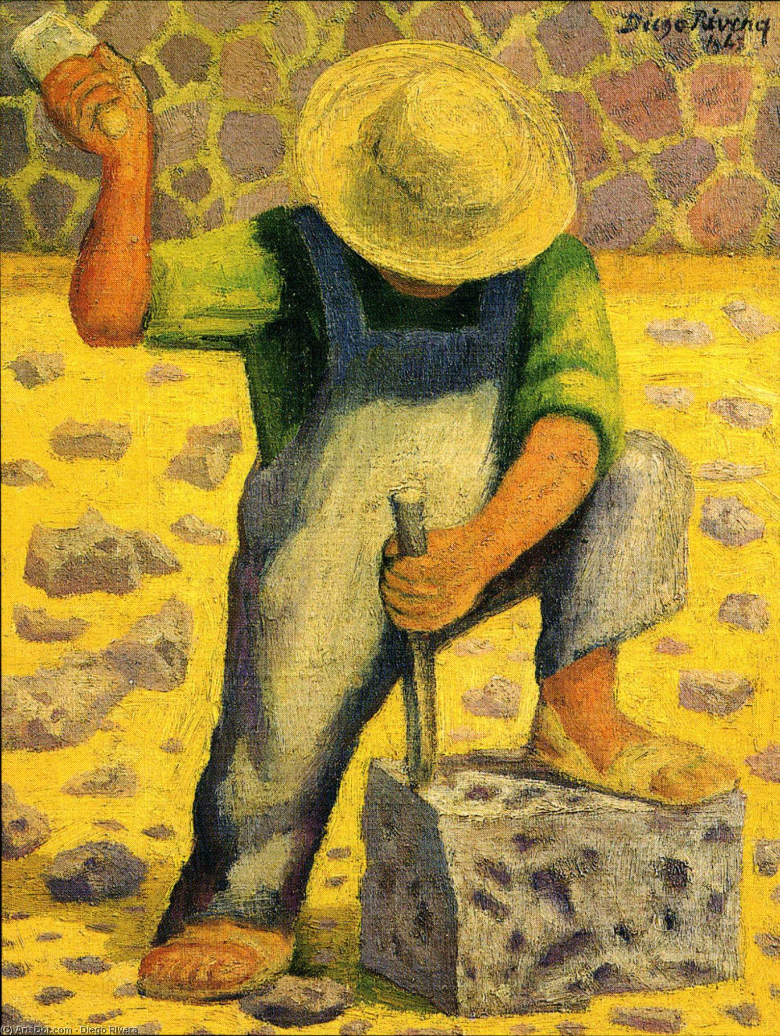 石工人(Picapedero), 油 通过 Diego Rivera (1886-1957, Mexico)