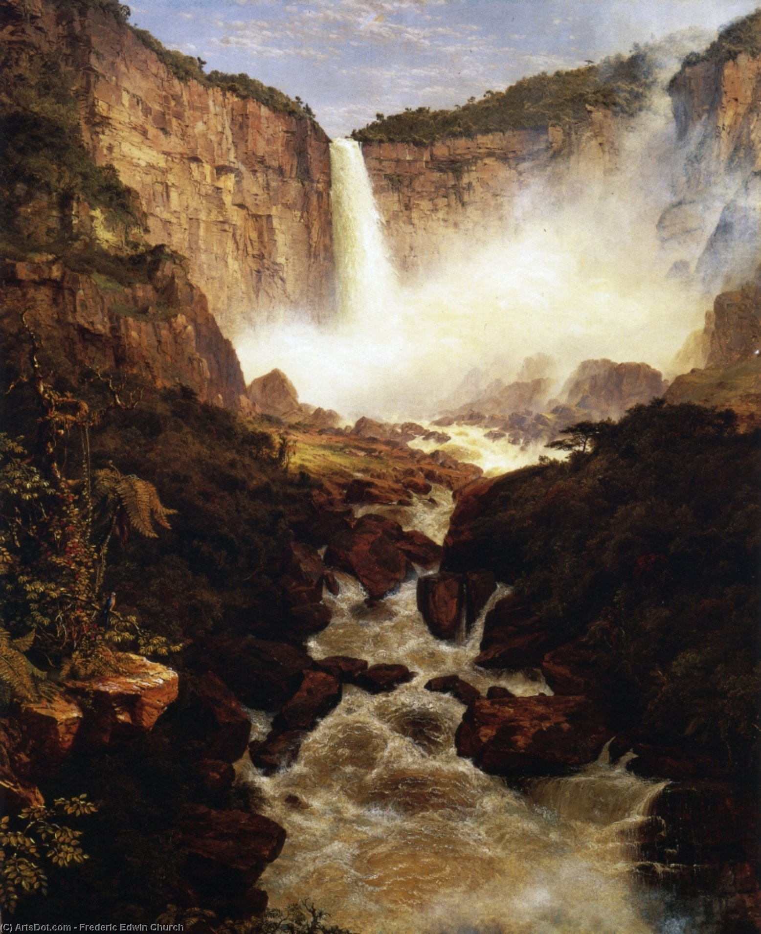 瀑布 的 Tequendama , 附近 波哥大 , 新 格拉纳达, 1852 通过 Frederic Edwin Church (1826-1900, United States) | 幀畫冊專輯 | ArtsDot.com