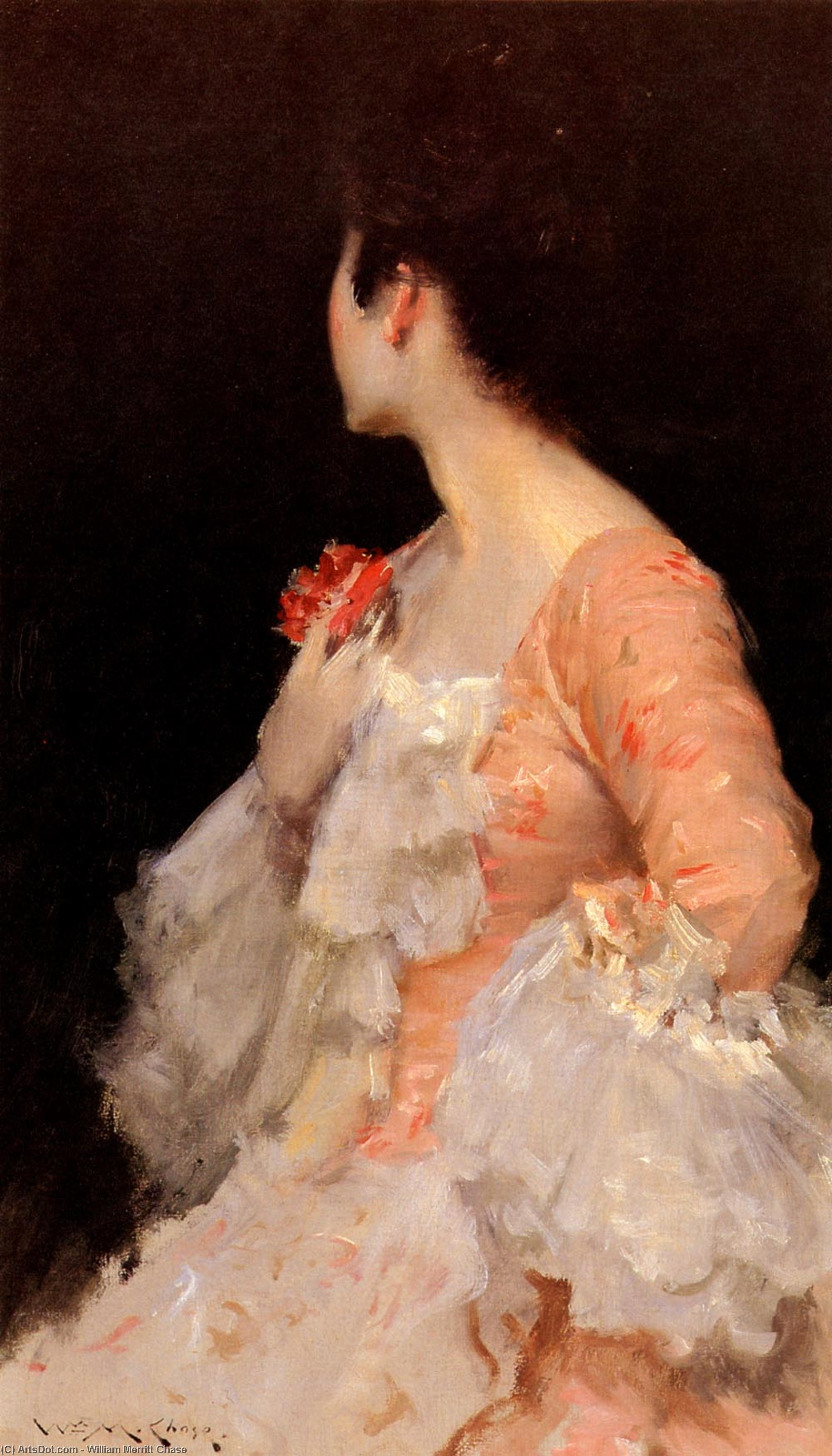 一个女人的肖像, 油画 通过 William Merritt Chase  (顺序 美術 幀畫冊專輯 William Merritt Chase)