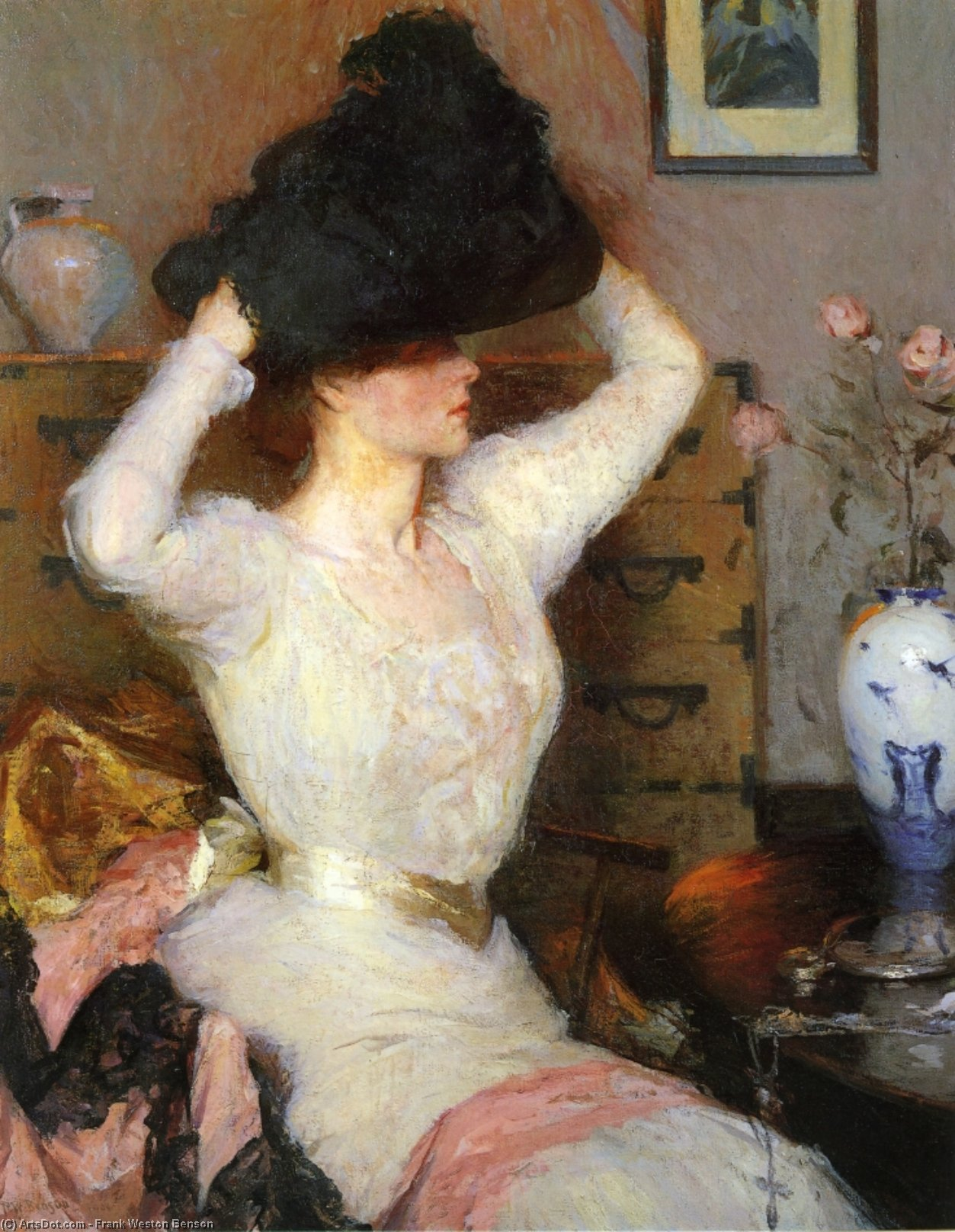 的  黑色  帽子 通过 Frank Weston Benson (1862-1951, United States)