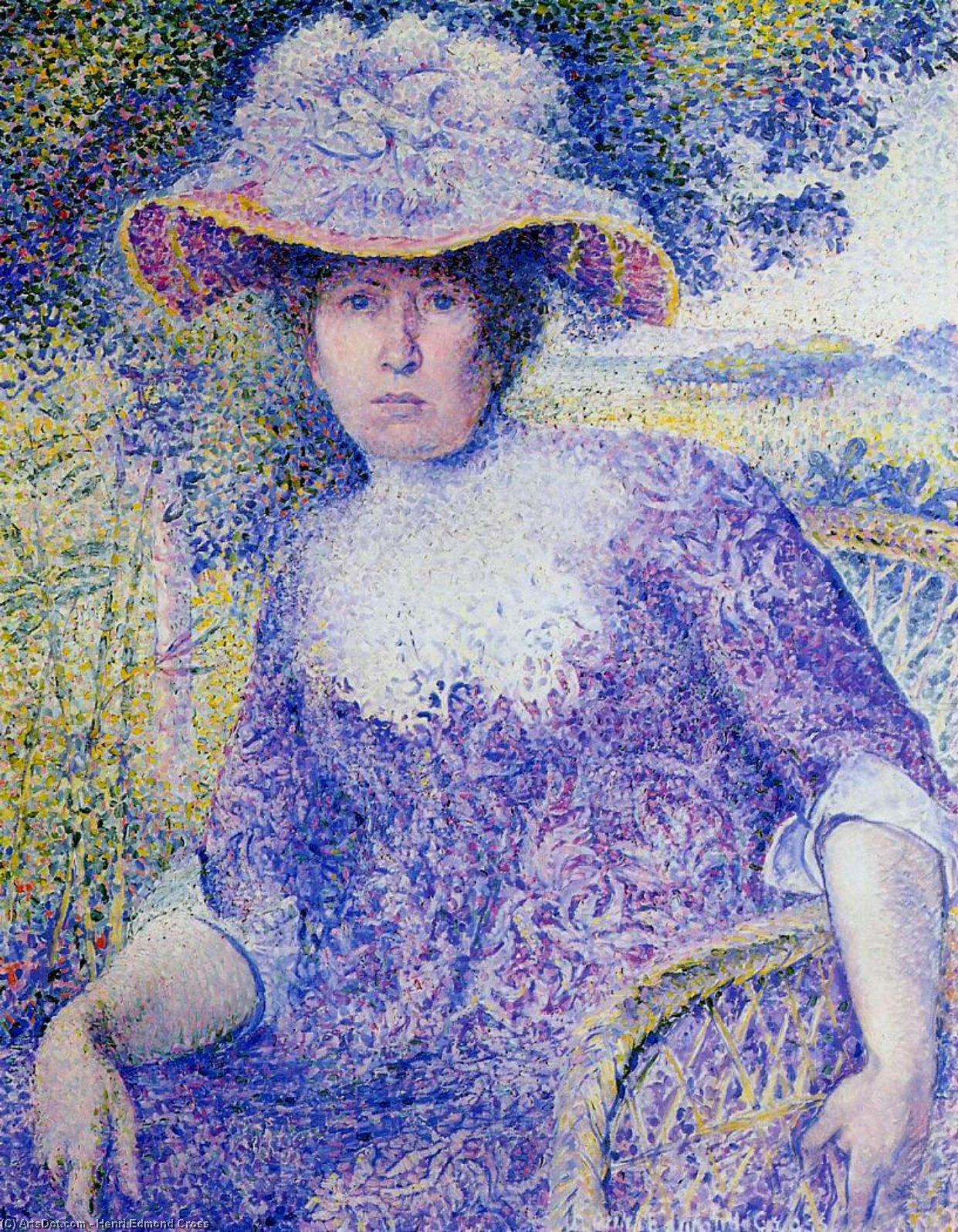 肖像夫人十字, 油画 通过 Henri Edmond Cross (1856-1910, France)