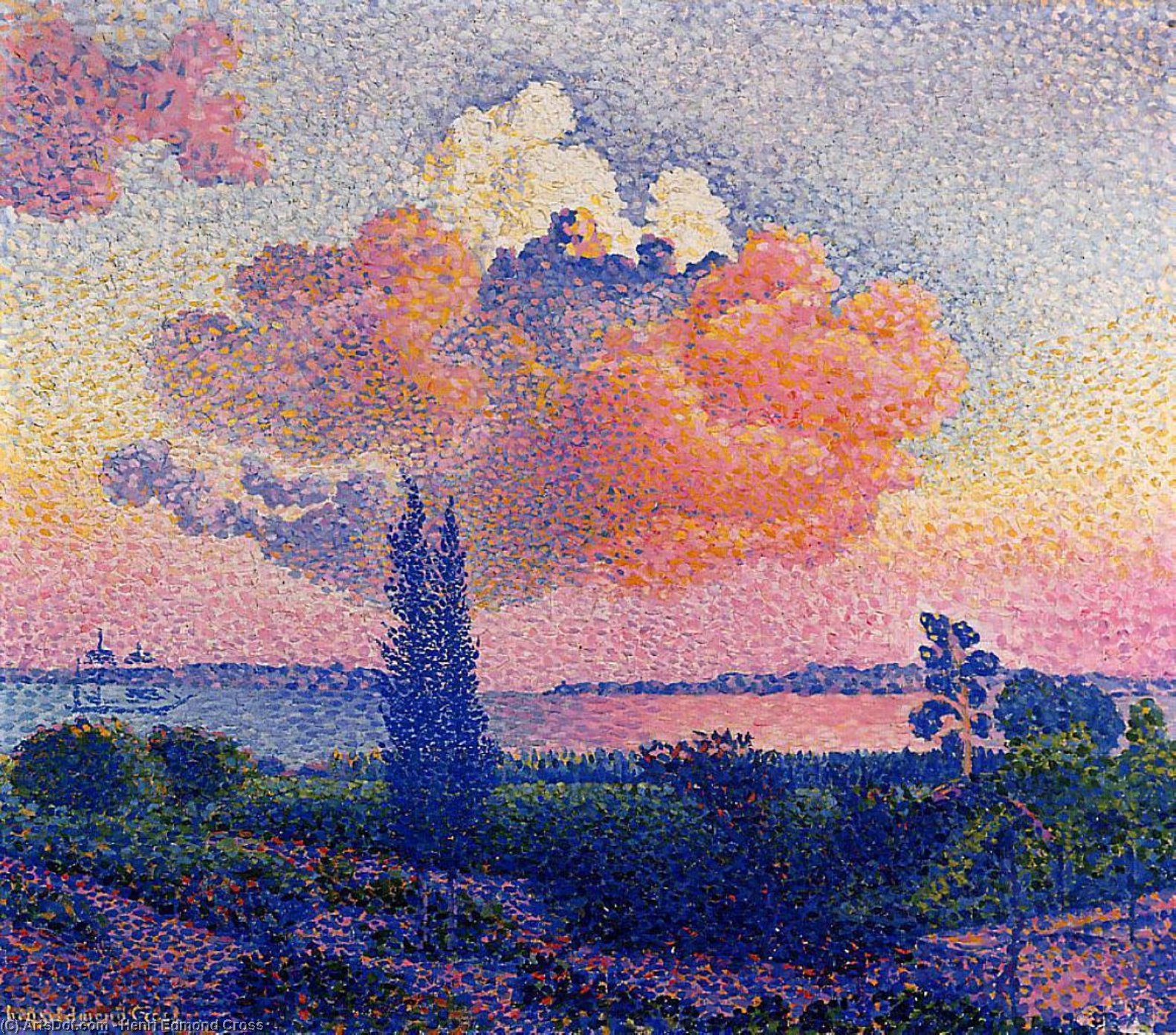粉红云, 油画 通过 Henri Edmond Cross (1856-1910, France)
