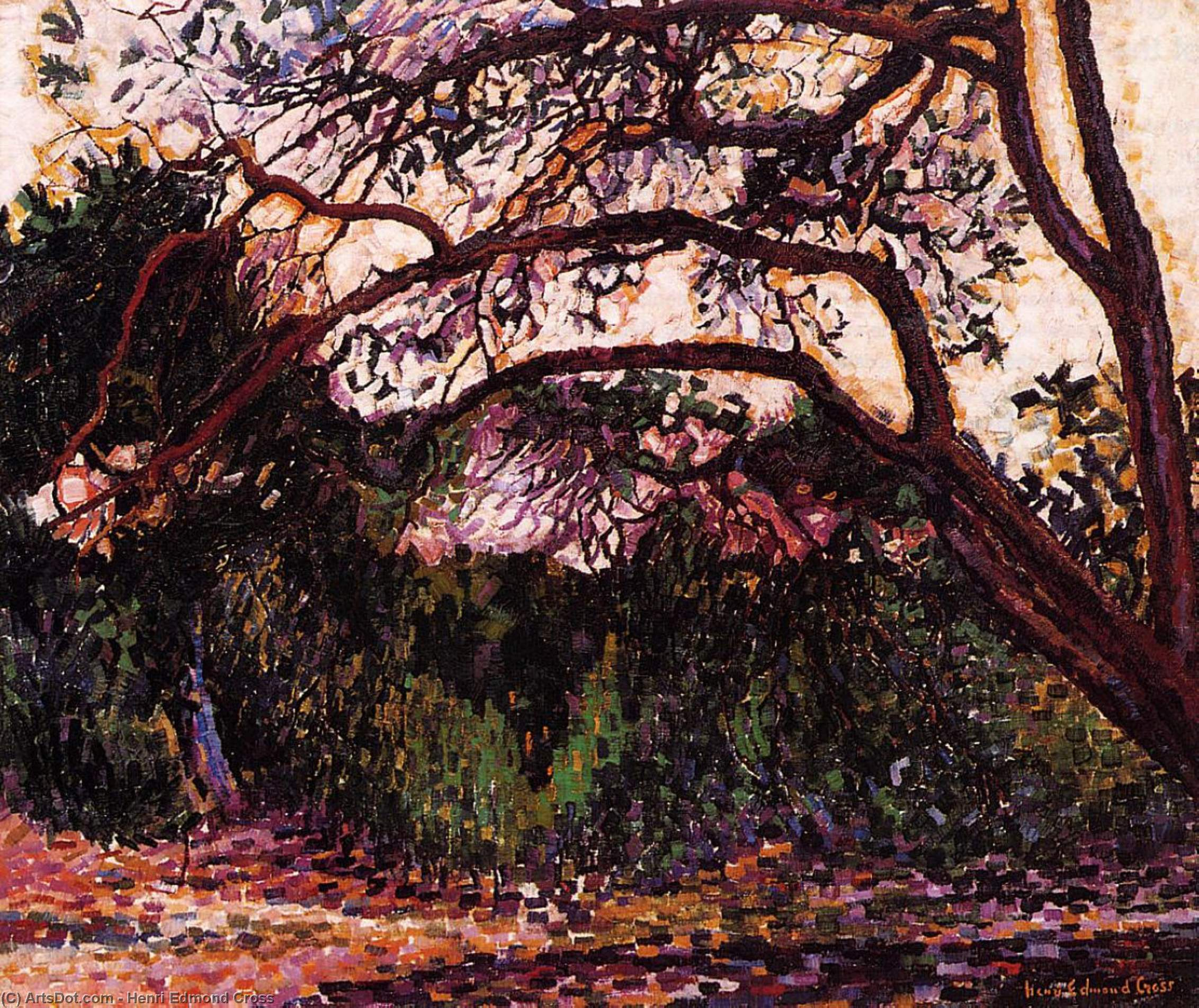 Woded 风景, 油画 通过 Henri Edmond Cross (1856-1910, France)