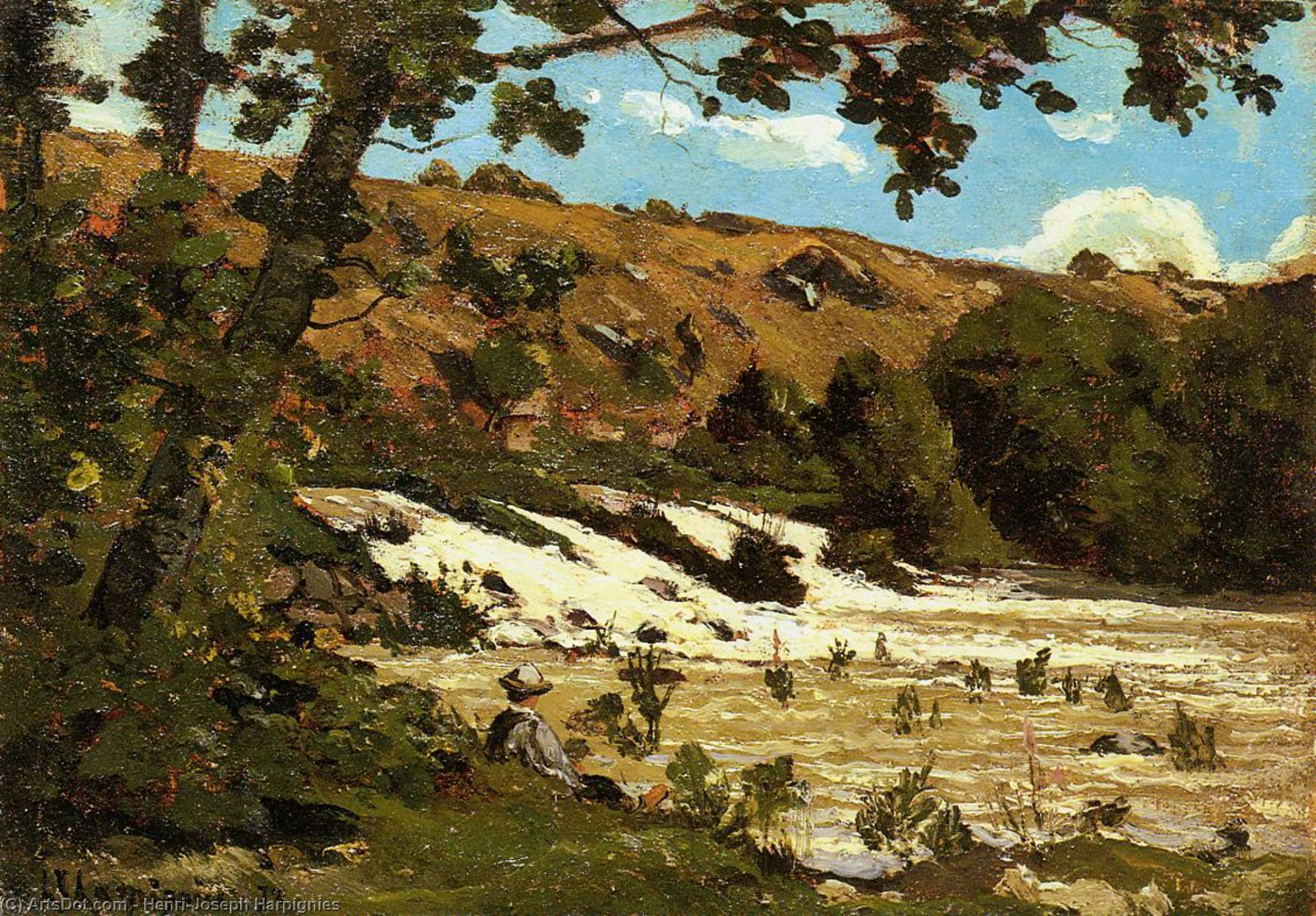 男孩  坐在  由  河 通过 Henri-Joseph Harpignies (1819-1916, France)