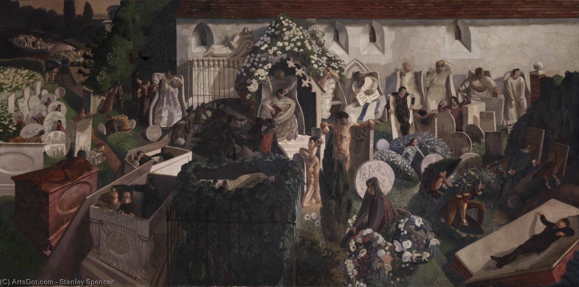 复活的Cookham 通过 Stanley Spencer (1891-1959, United Kingdom) | ArtsDot.com