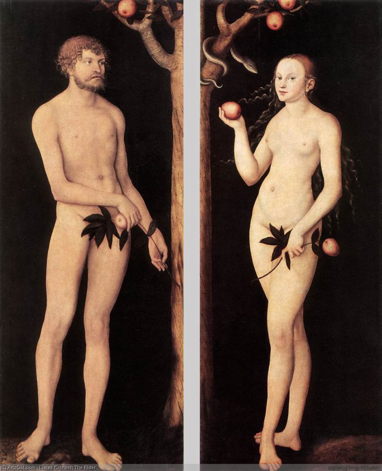 亚当  和  前夕, 油 通过 Lucas Cranach The Elder (1472-1553, Germany)