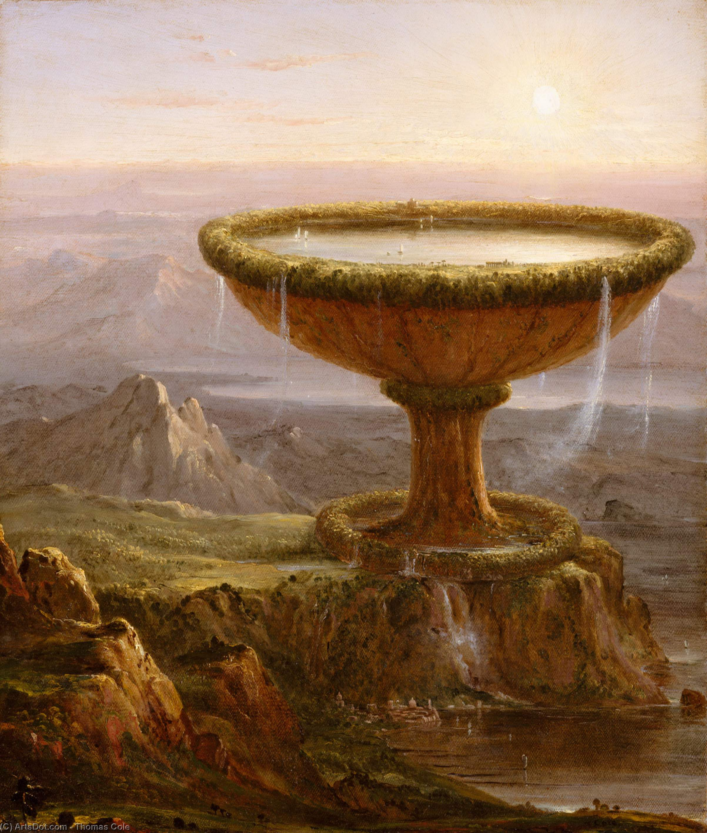 的 Titan`s 高脚杯, 油画 通过 Thomas Cole (1801-1848, United Kingdom)