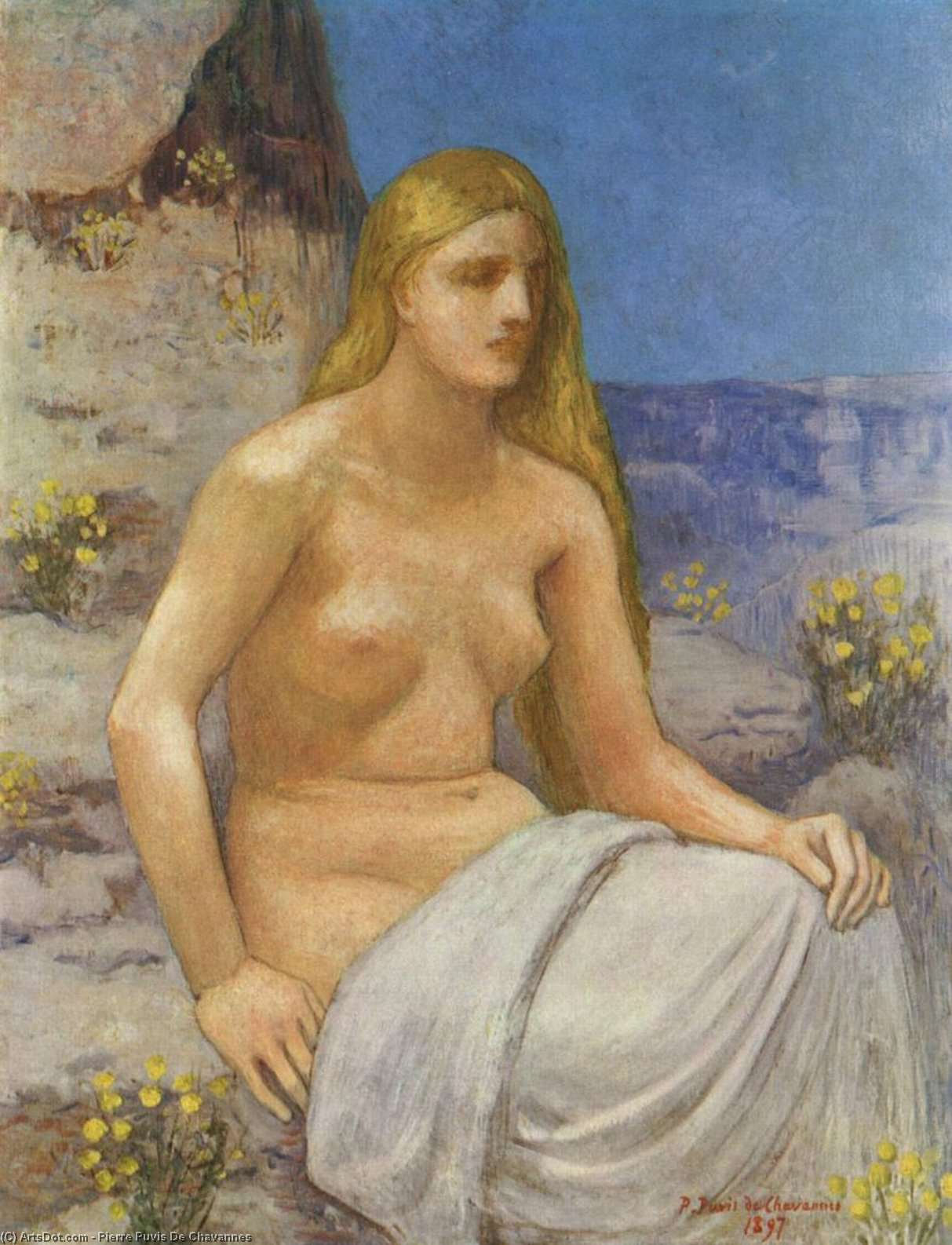 Marie-Madeleine, 油画 通过 Pierre Puvis De Chavannes (1824-1898, France)