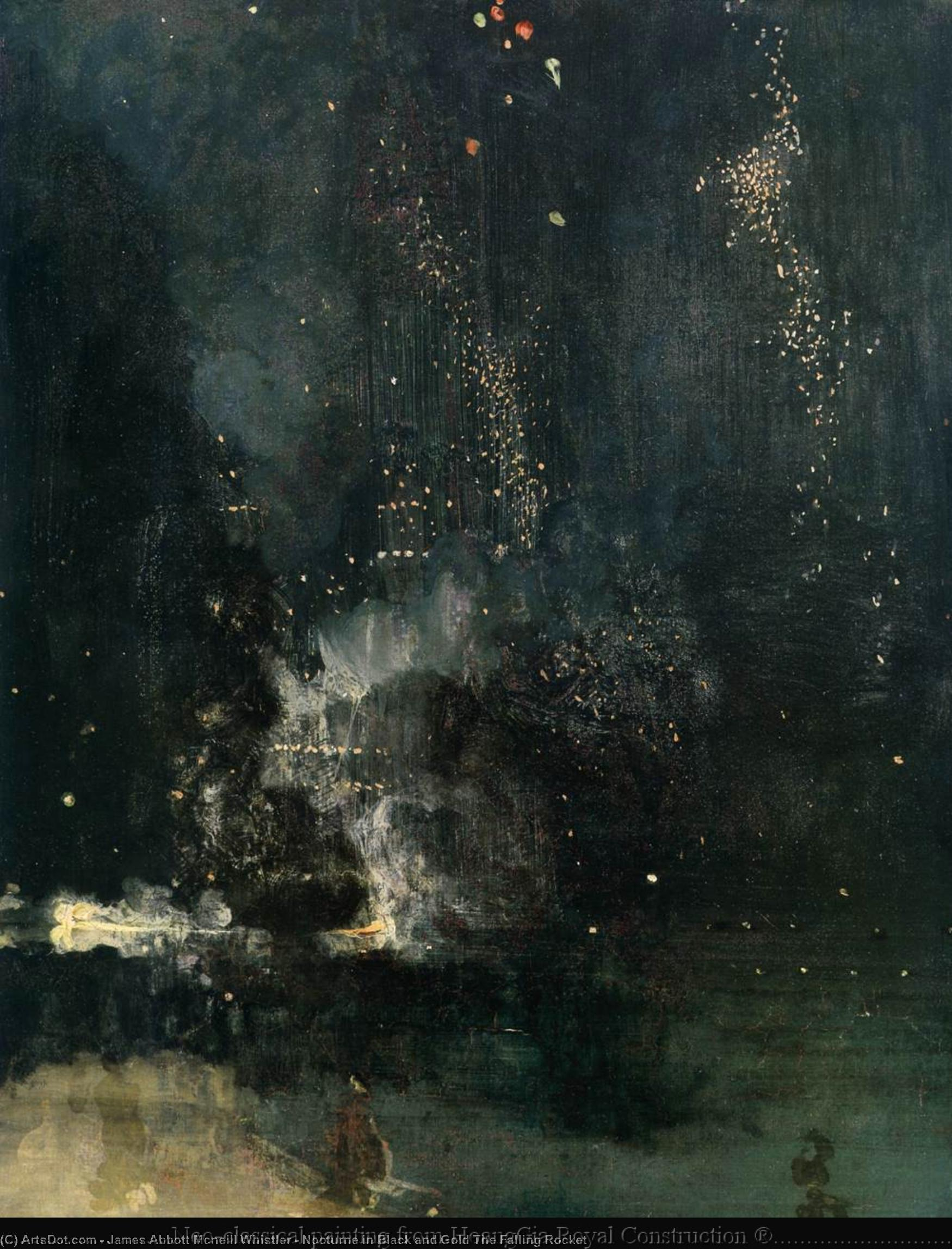 夜曲 在  黑色  和  金  的  在下降  火箭 , 1875 通过 James Abbott Mcneill Whistler (1834-1903, United States) | 手工油畫 James Abbott Mcneill Whistler | ArtsDot.com