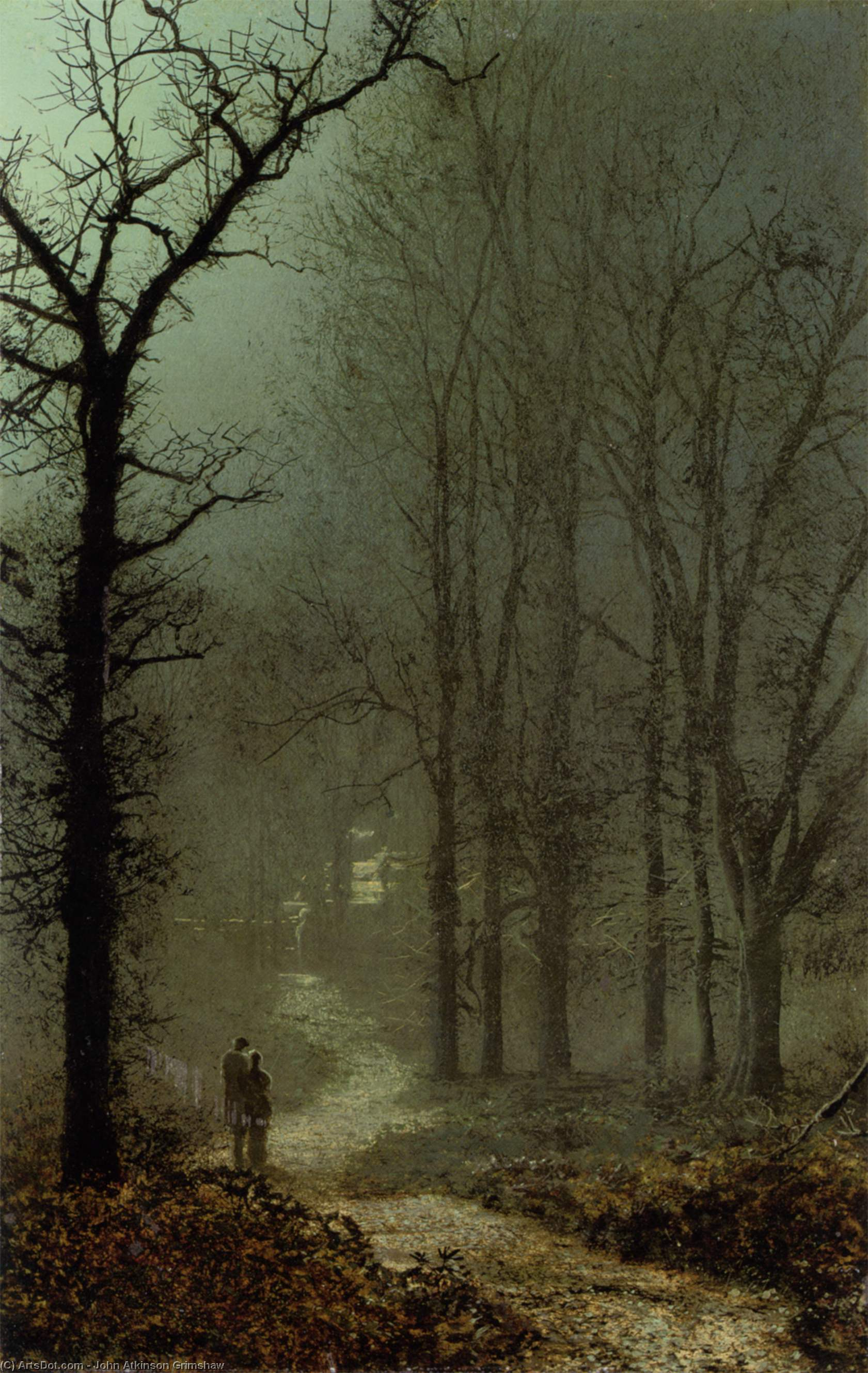 在情人 一个  木头 , 油 通过 John Atkinson Grimshaw (1836-1893, United Kingdom)