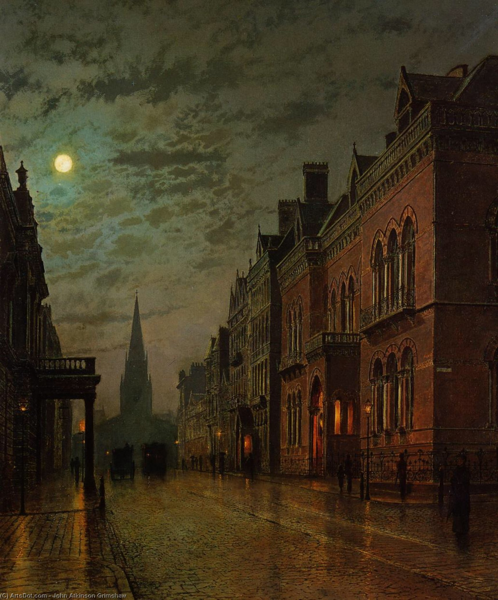 公园列,利兹, 油画 通过 John Atkinson Grimshaw (1836-1893, United Kingdom)