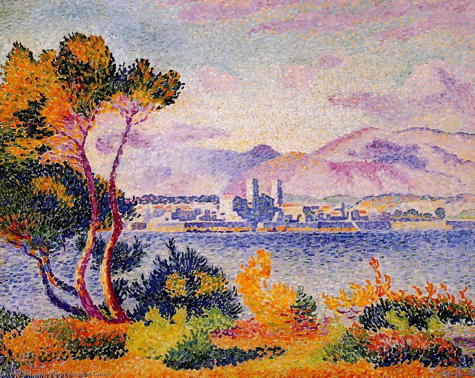 昂蒂布,下午 通过 Henri Edmond Cross (1856-1910, France)