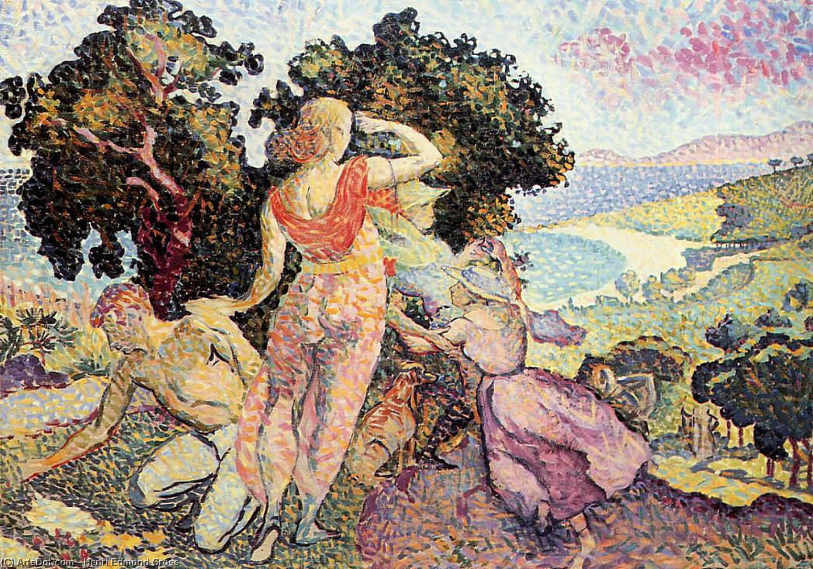 "研究 Excuirsion"", 油画 通过 Henri Edmond Cross (1856-1910, France)"