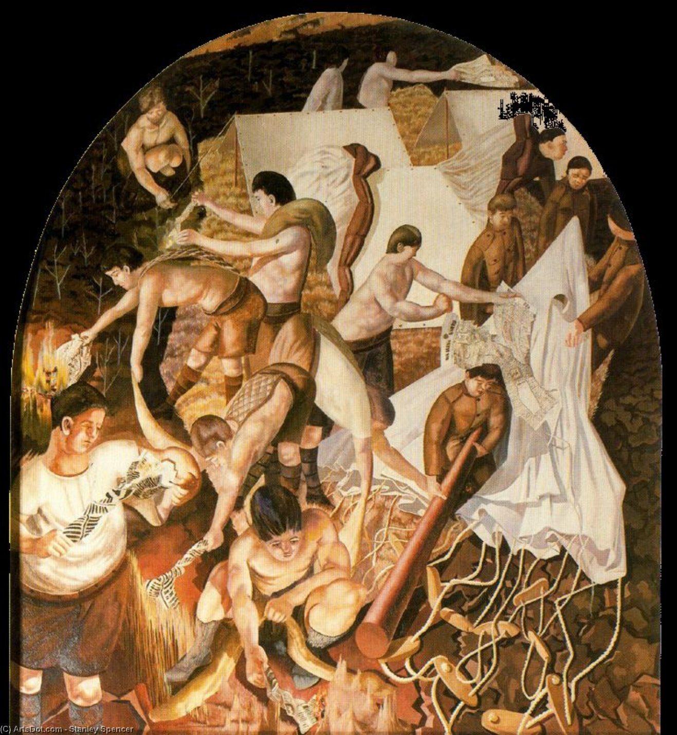 制作防火林带 通过 Stanley Spencer (1891-1959, United Kingdom)