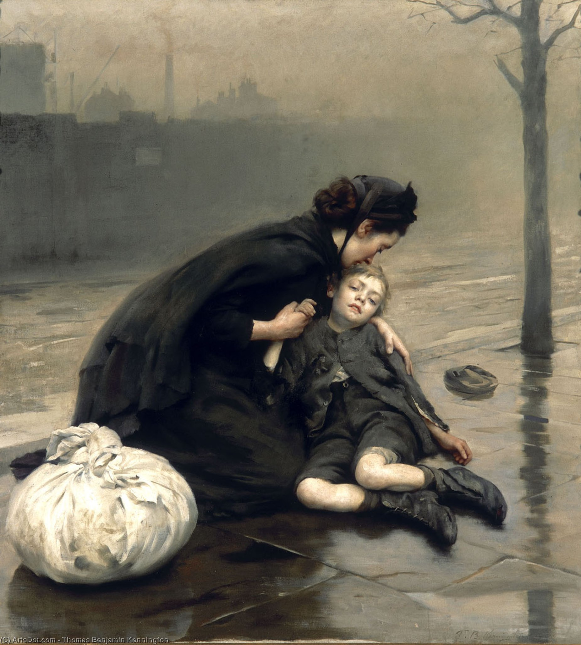 无家可归, 油画 通过 Thomas Benjamin Kennington (1856-1916, United Kingdom)