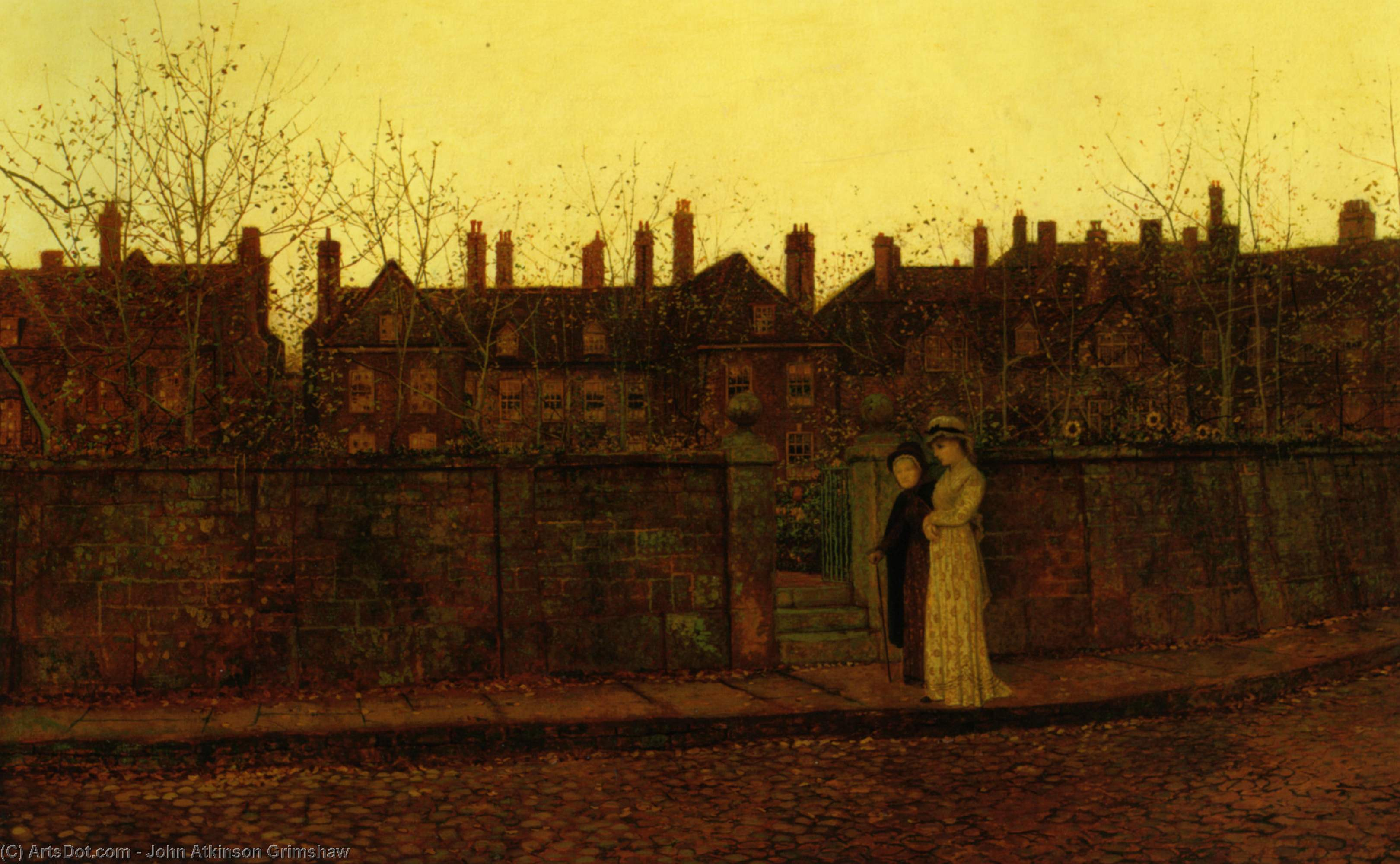 在金黄昏, 油画 通过 John Atkinson Grimshaw (1836-1893, United Kingdom)