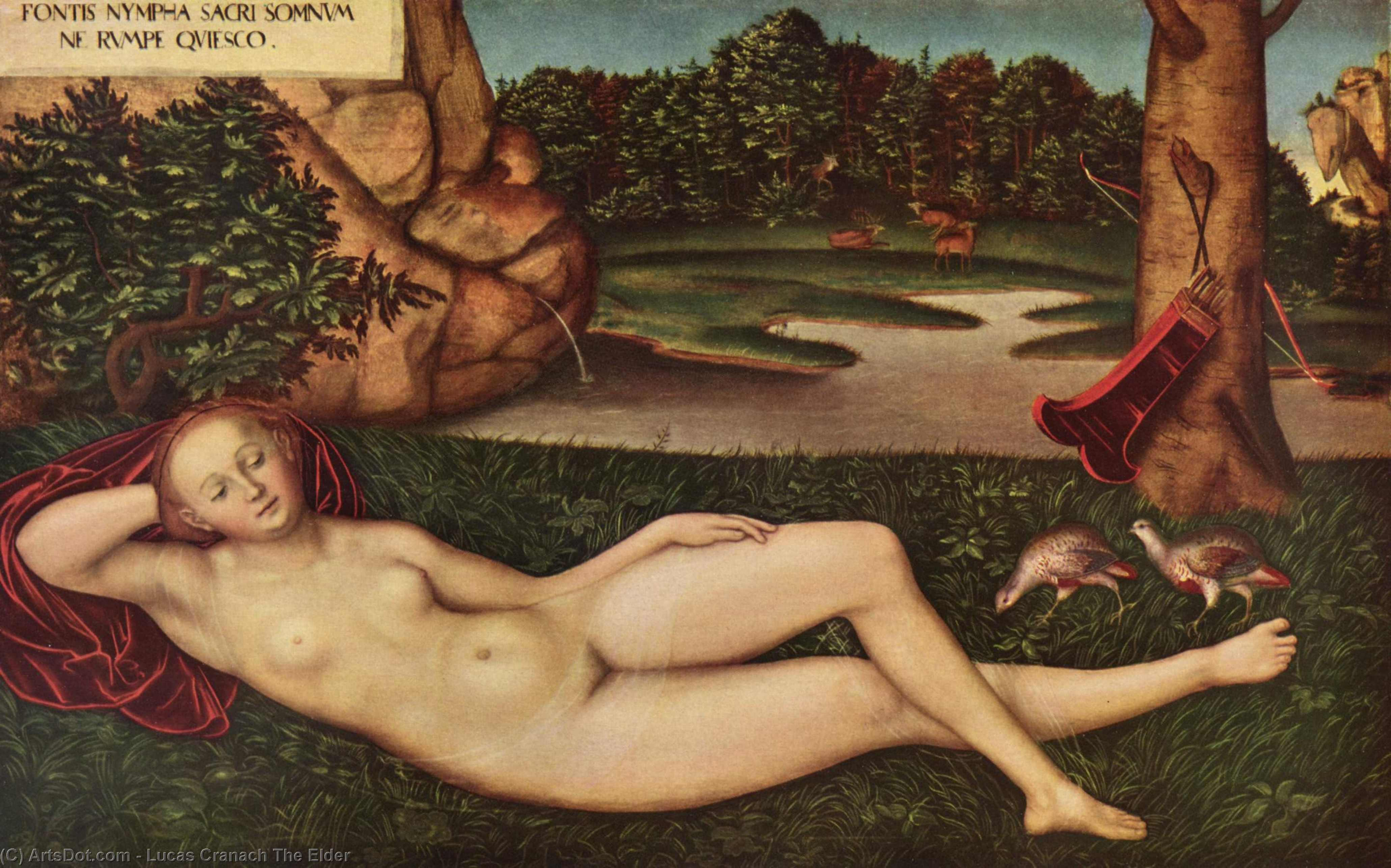 睡眠 若虫  的  的  春季 , 油 通过 Lucas Cranach The Elder (1472-1553, Germany)