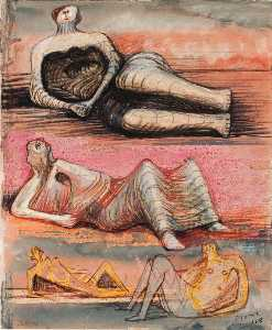 Henry Moore - Recto_Mother  和  孩子  对  摇摆  椅子..