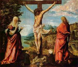Albrecht Altdorfer - Crucifixion scene ,  Christ on 交叉 with Mary 约翰