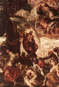 Tintoretto (Jacopo Comin) - 摩西图 水  从  的  岩石  detail1