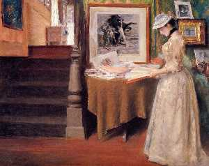 William Merritt Chase - 内部,  年轻女子  在  表