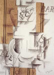 Georges Braque - Fruitdish 和玻璃