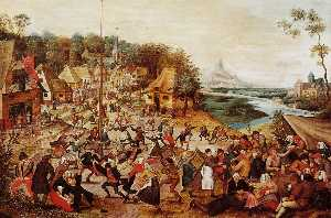 Pieter Bruegel The Younge.. - 舞 围绕  的   可能  极
