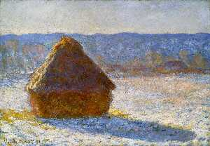 Claude Monet - Grainstack  在  上午 , 雪效应