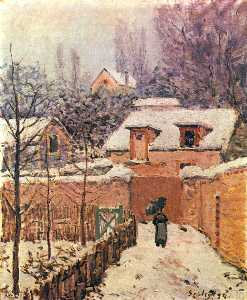 Alfred Sisley - 花园在Louveciennes的雪